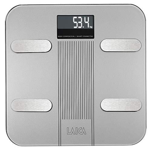 Laica LA282 Báscula de baño electrónica Bluetooth con cálculo de la composición Corporal, Blanco