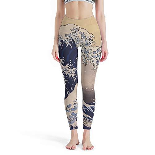 Charzee Damen Yoga Hosen Stretch Workout Leggings Lang Atmungsaktiv Sicher Große Welle vor Kanagawa von Katsushikadruck Sporthose Plus Size White s