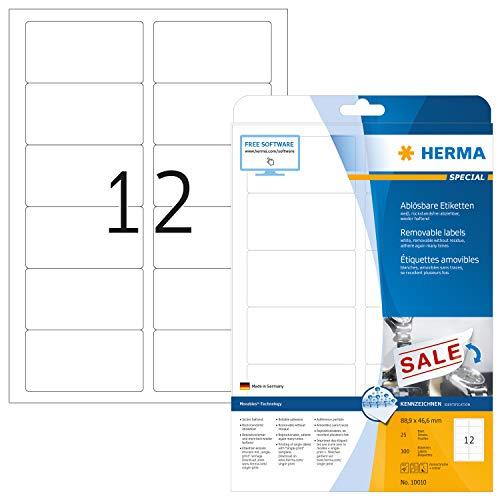 HERMA 10010 Universal Etiketten DIN A4 ablösbar, groß (88,9 x 46,6 mm, 25 Blatt, Papier, matt) selbstklebend, bedruckbar, abziehbare und wieder haftende Adressaufkleber, 300 Klebeetiketten, weiß
