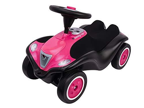 BIG-Bobby-Car Next - Deluxe Variante, Kinderfahrzeug mit LED-Front Scheinwerfer, Flüsterreifen und weichem Sitz, belastbar bis zu 50 kg, Rutschfahrzeug für Kinder ab 1 Jahr, Raspberry