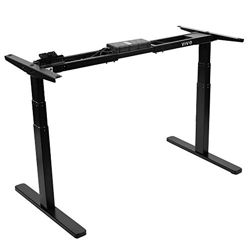 VIVO Black Electric Dual Motor Stand Up Desk Frame (Frame Only), Ergonomic Height Adjustable Workstation Base, Standing Desk Legs (DESK-V120EB)
