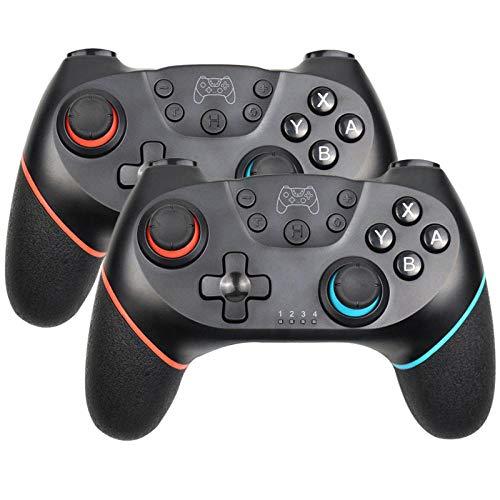 HDHL Mando Tablero de Juego inalámbrico Bluetooth paraControlador de Joystick de JuegoNintend Pro NS-Switch, Joystick de6EjesRojo-Azul-2 Piezas