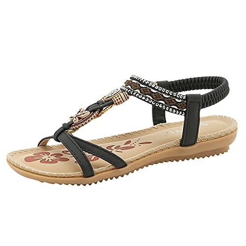 URIBAKY - Zapatos de playa para mujer, con banda elástica, con puntera abierta, transpirables, con pedrería, elegantes, cómodos, planos, Negro (Negro ), 41 EU