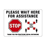 Vinyl Safety Sign - Please Wait Here for Assistance with Stop Sign Image, Horizontal (10'W x 7'H)