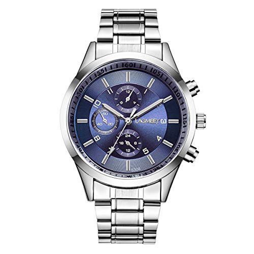 Relojes Hombre Cronógrafo Decorativo Sencillo con Correa de Acero Inoxidable Plateado, Azul