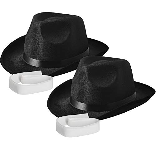 NJ Novelty - Fedora Gangster Hat, Black Pinched Hat Costume Accessory + White Band (Black - 2 Pack)