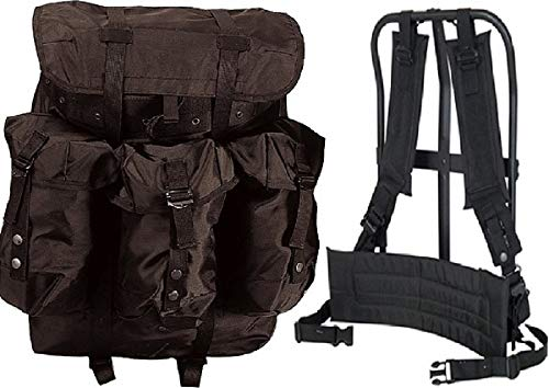 Alice Pack Mil Spec Plus LCII Style complete with frame, kidney pad and shoulder straps Black. A.L.I.C.E. Backpack with Suspender Strap and Frame 600D Polyester Waterproof Black