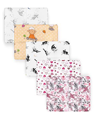 Be Mammy Baby Windelsets Stoffwindeln Mulltücher 60x80 cm 5er Pack BESD001 (Mädchen2 (5 Pack), 60x80)