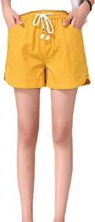 Xswsy XG Women's Elastic Waist Beach Pockets Wide-Legs Lace-up Short