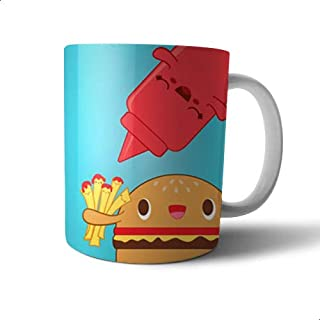 Ceramic Burger-Sandwich Print Mug - Multi Color