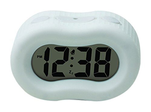 Timelink Digital Rubber Outer Shell Alarm Clock for Bedrooms Travel, Great for Men Women, Simple Operation, Automatic Green Smart Night Light Dimmer, Large 1' Display, Snooze, Small, Portable, White