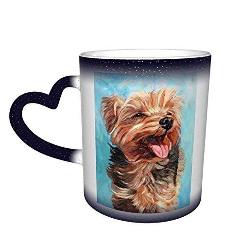 Taza que cambia de color Happy Yorkie Puppy Starry Sky, tazas de café para el hogar, tazas impresas, regalos para amantes de la familia, amigos