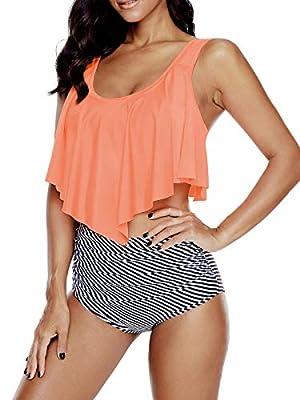 Bikini Swimsuits for Women High Waisted Swimsuits Ruffled Top Tankini Tummy Control Swimming Suit 12 Orange Striped 8-10