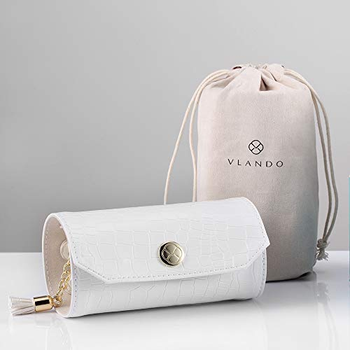 Vlando Rollie Portable Jewelry Roll Lipstick/Daily Jewelries Storage Case Travel Jewelry Organizer Portable Leather Jewelry Roll for Travel Mini Size amp Light Weight Jewelry Storage OrganizerWhite