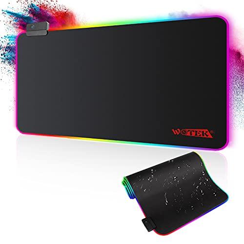 Alfombrilla de Ratón RGB, (800×300×4mm) 7 Colores con 14 Modos de Luz, Alfombrilla Gaming Extra Grande Base de Goma Antideslizante y Superficie Suave Resistente al Agua para Gamers, PC y Portátil