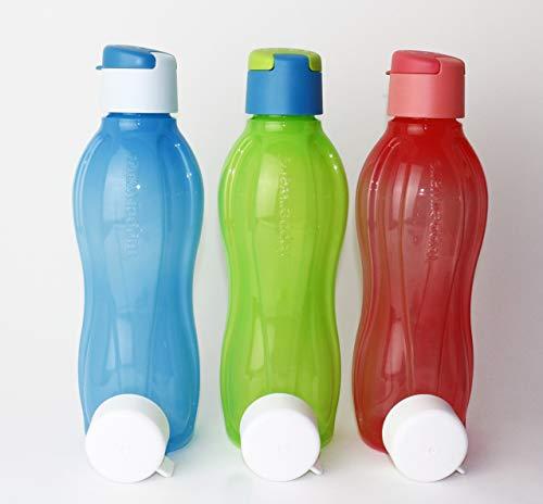 Tupperware EcoEasy Trinkflasche to Go 3X 750ml Blau/Hellblau + Lachs/Rosa + Grün/Türkis + 3X Schraubverschluß + Geschenk Mini Trichter