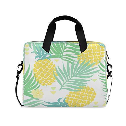 ALARGE Funda para portátil de 15 a 16 pulgadas, diseño de piña tropical y hojas de palma, con asa de correa, para mujeres y hombres