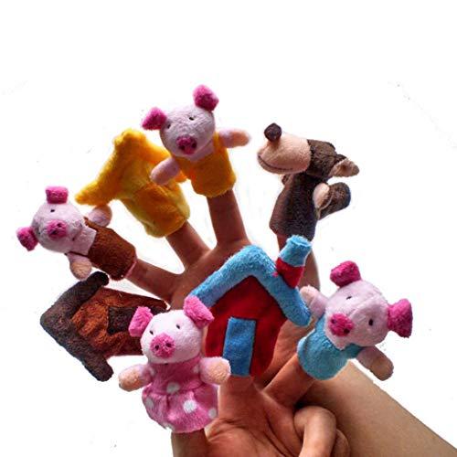 Ogquaton 8 stücke Tier Fingerpuppe, 3 Little Pig Story Fingerpuppe Plüschtiere Kreative und Nützliche