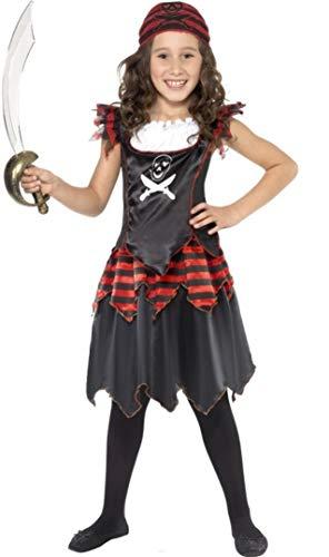 Smiffys Costume pirate fille tête de mort, avec robe et foulard, Rouge/Noir, Taille L / 10-12 Ans