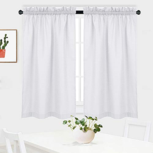 "NANAN White Curtains 45 inch Long Casual Weave Small Window Curtain Kitchen Bathroom Basement Bedroom Drapes - 30"" x 45"", White, Set of 2"