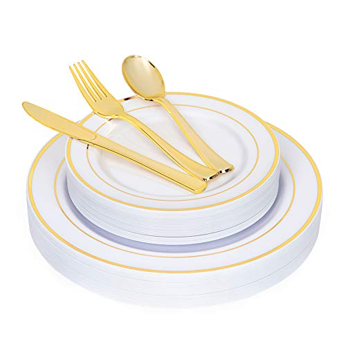 N9R 125PCS White Plastic Plates with Gold Rim & Disposable Gold Plastic Silverware Set, Include 25 Dinner Plates, Dessert Plates, Gold Forks, Knives and Spoons, Sturdy Enough for Weddings and Parties
