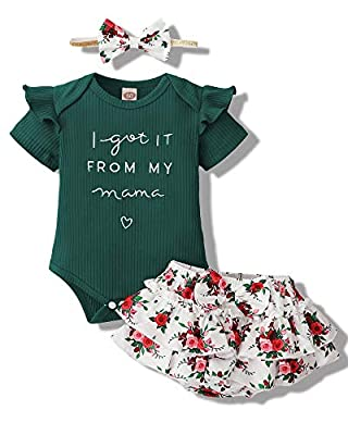 Mioglrie Newborn Baby Girl Clothes Romper Shorts Set Ruffle Infant Girl Clothes Knitted Baby Girls' Clothing Daddys Little Girl Baby Clothes DarkGreen Baby Clothes Girl 0-3 Months by