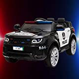 Kids Police Ride On Car with Megaphone Siren, Electric SUV Vehicle Ride on Trucks for Children Battery Operated Ride On Toys 2020 for Kids 3-8 Years Old, Christmas Birthday Gift for Boys Girls