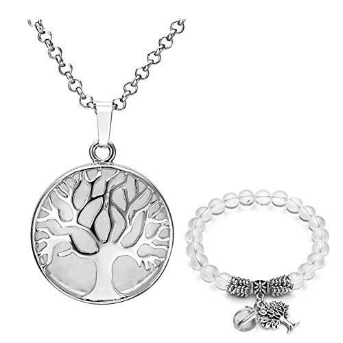 Jovivi, set di gioielli da donna, in argento, con albero della vita, pietra rotonda, collana e bracciale con perle da 8 mm e base metal, colore: cristallo di rocca, cod. TTDE000661