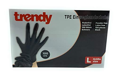 MC-Trend 100 Stück TPE Einweg Handschuhe Schwarz Einmalhandschuhe puderfrei Latexfrei in Spenderbox (XL)