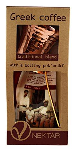Nektar, Griechischer Kaffee Klassische Mischung, Paket mit tratitionellem Kaffekocher zum Kochen BRIKI, 250gr