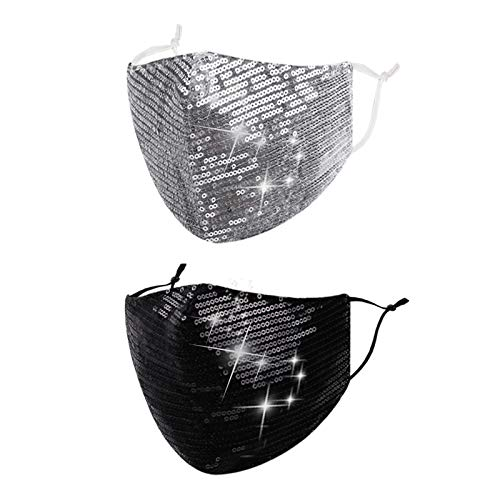 Reusable Sequin Face Mask Women Female Adult Glitter Sparkly Bling Fashion Cute Washable Designer Pretty Breathable Adjustable Sparkle Bedazzled Fancy Decorative Masquerade Black Silver Gift For Women