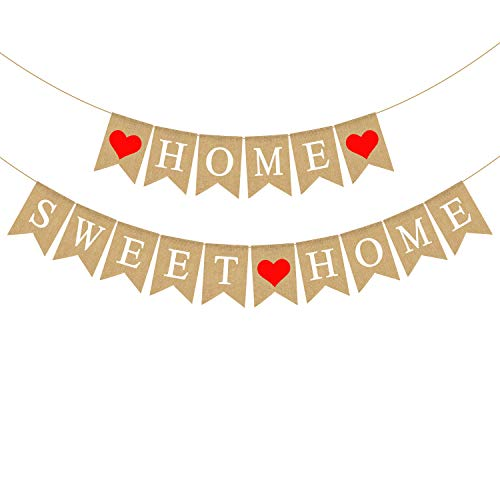 Rustic Jute Burlap Home Sweet Home Banner Housewarming Party Mantel Fireplace Garland Decoration
