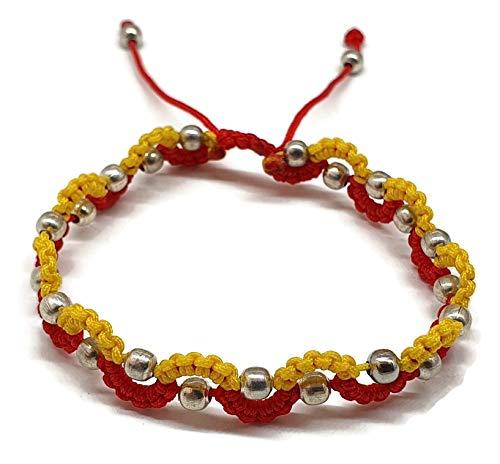 MYSTIC JEWELS - Pulsera Kabbalah de Hilo con 2 Colores, s, Amuleto, protección Mal de Ojo, Buena Suerte, Good Luck (Color1)