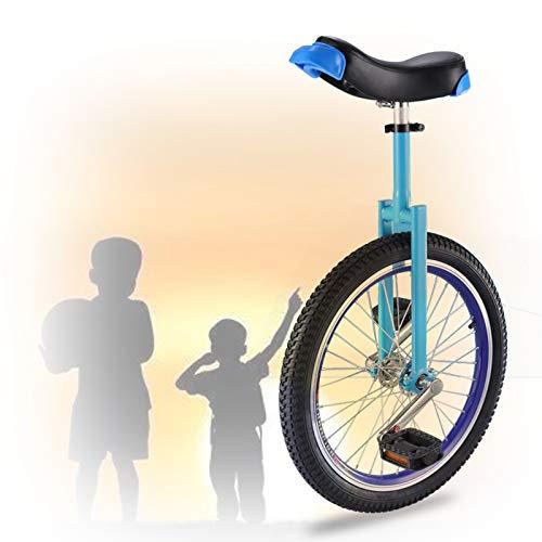 GAOYUY 16/18/20 Zoll Einrad, Rutschfester Reifenzyklus Balance Übung Spaß Fitness Freestyle Einräder Für Kinder Erwachsene Anfänger (Color : Blue, Size : 18 inch)