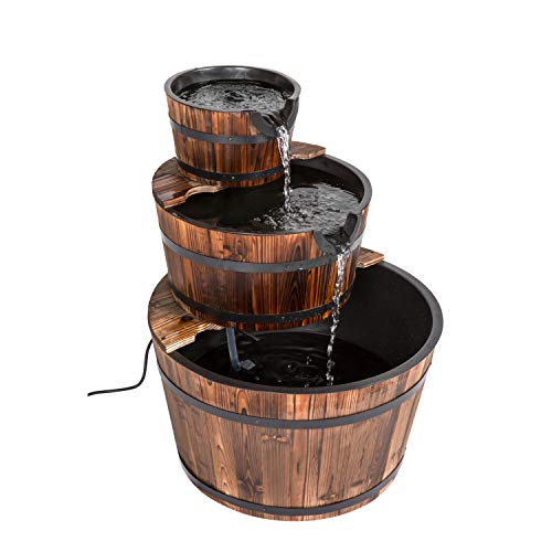 kinbor 3-Tier Wood Barrel Waterfall Fountain with Pump Outdoor Garden Rustic