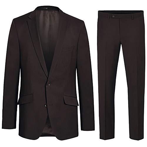 Paul Malone Herren Anzug Regular fit braun Uni - 100% Schurwolle - Sakko und Hose Gr. 54
