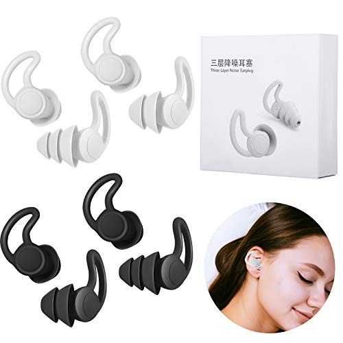 4 Pairs Sleeping Ear Plugs Silicone Oval Shaped Anti-Noise Earplugs Reusable Safe Noise Cancelling Ear Plugs for Sleeping Snoring Concert Racing Sports