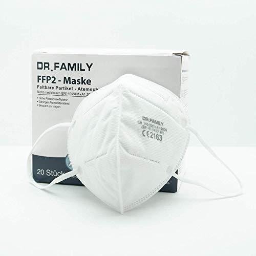 HHW Pro FFP2 Maske DEKRA geprüft Atemschutzmaske EU CE Zertifiziert CE2163 EN 149:2001 01:2009 Einzel Verpackt 20 Stück - 3