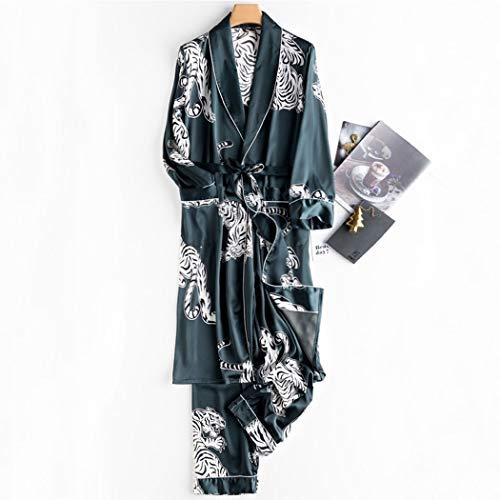 HUIQI Loose Albornoces Loungewear Estilo Japonés Ropa De Dormir Pantalones Túnicas Largas Y Delgadas Seda De Raso De Jóvenes Pijamas Set Hombres (Color : Green, Size : XXL)