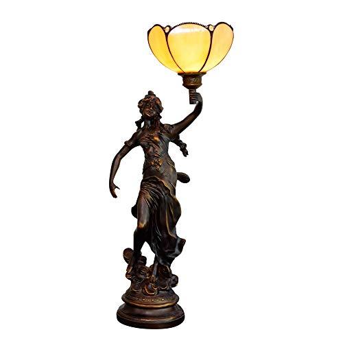 Lámpara Tiffany 8 pulgadas moderna Tiffany lámpara de vidrio de color hermosa mesa de bar habitación sencilla nórdica salón comedor lámpara de noche amarillento Escritorio antiguo de sala de estar al