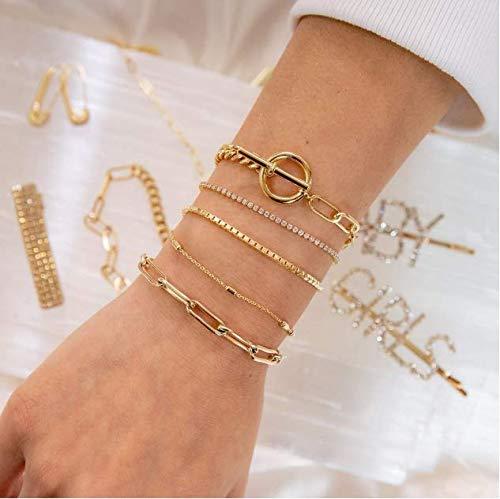 Cathercing Gouden Armband Ketting Set voor Meisjes Boho Vrouwen Sieraden Armband Link met Blad Kristal Dunne Armband Anklet Set Verstelbare Handgemaakte Dagelijkse Sieraden Gift voor Tiener Meisjes (5 Pack)
