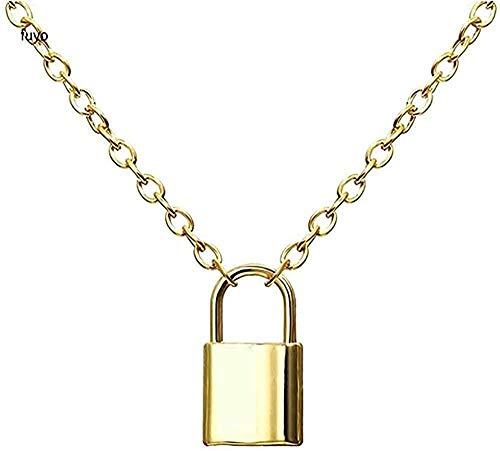 ZGYFJCH Co.,ltd Collar de Cadenas en Capas Hip Hop Punk Collar de candado de Acero Inoxidable Hombres candado de corazón de Roca con Collares de Llaves para Mujeres Hombres Regalo de joyería