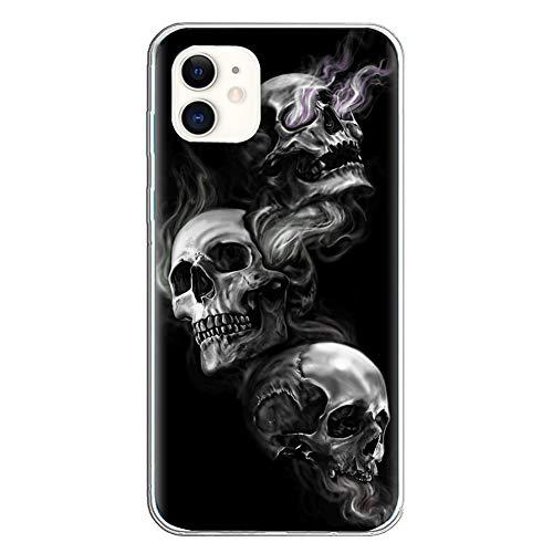 Halloween HandyHülle Kompatibel mit Apple iPhone 11 Hülle Transparent [Stoßfest] Weiche Silikon [Kratzfest] TPU Bumper Ultra Dünn Totenkopfes Blume Muster Durchsichtige Schutzhülle (iPhone 11, 5)