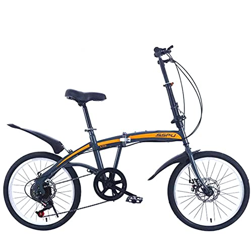 20 Inch Folding Mountain Bike, Adult Variable Speed Road Bicycle Carbon Steel Frame Sports Cycling Men Women Racing Ride Black spoke wheel