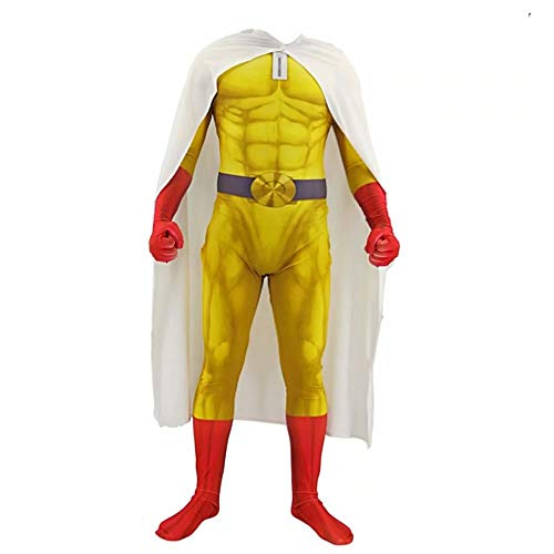 Godmoy One Punch Man Costume Saitama Cosplay Jumpsuit Set con Capa Disfraces de superhroe de Halloween Monos para nios Adultos