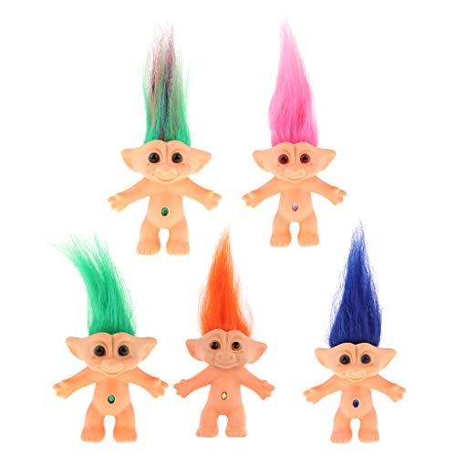 Tongina 5 Pieces Cute Mini Lucky Troll Dolls Action