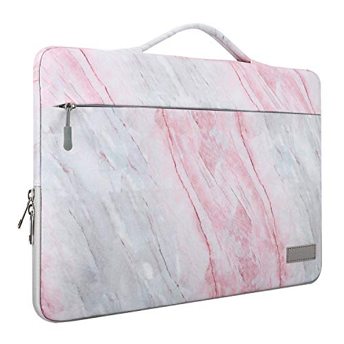 """MoKo 15.6 Inch Laptop Sleeve Case Fits 2019 MacBook Pro 16 inch, MacBook Pro 15.4"""", Surface Book 15 inch, Ultrabook Notebook Carrying Bag for 15.6"""" Dell HP Acer Chromebook, Pink Gray Marble"""