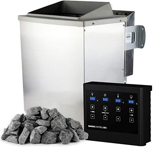 SULENO Bio-Saunaofen KEMI 4,5 kW Edelstahl mit 20 kg Saunasteine Steuergerät
