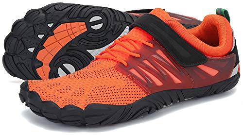SAGUARO Barfußschuhe Herren Zehenschuhe Outdoor Traillaufschuhe Männer Straßenlaufschue Five Finger Schuhe St.2 Orange 44
