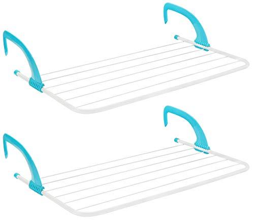 COM-FOUR® 2x radiator wasdroger - verstelbare hangende droger - perfect voor het drogen van wasgoed op de verwarming of op het balkon (02 stuks - 68 x 39cm)